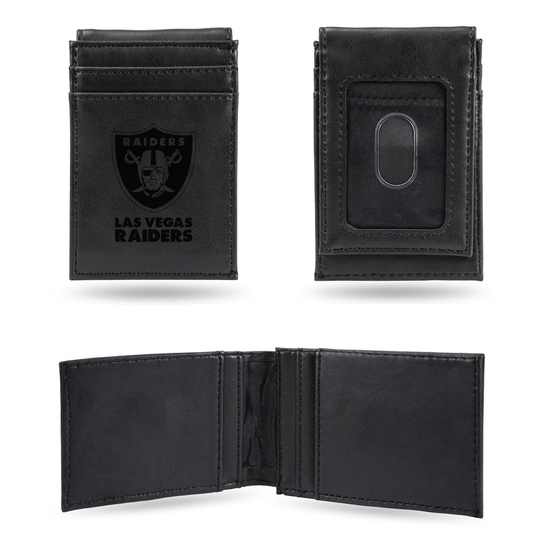 LAS VEGAS RAIDERS LASER ENGRAVED FRONT POCKET WALLET - BLACK