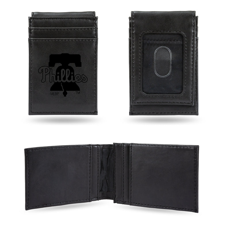 PHILLIES LASER ENGRAVED BLACK FRONT POCKET WALLET