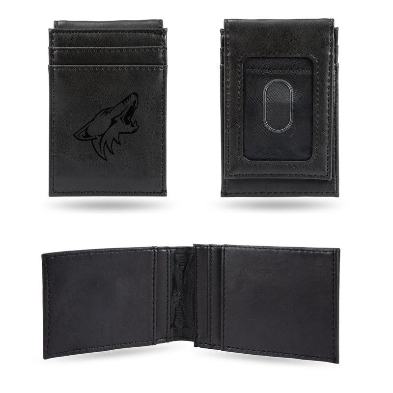 COYOTES  LASER ENGRAVED BLACK FRONT POCKET WALLET
