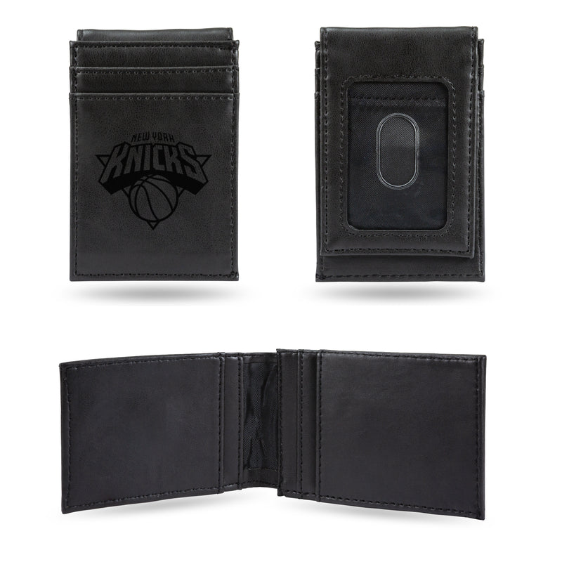KNICKS LASER ENGRAVED BLACK FRONT POCKET WALLET
