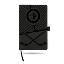 JETS - WIN  LASER ENGRAVED BLACK NOTEPAD WITH ELASTIC BAND