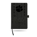 CLEMSON LASER ENGRAVED BLACK NOTEPAD WITH ELASTIC BAND