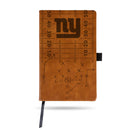 GIANTS - NY LASER ENGRAVED BROWN NOTEPAD WITH ELASTIC BAND