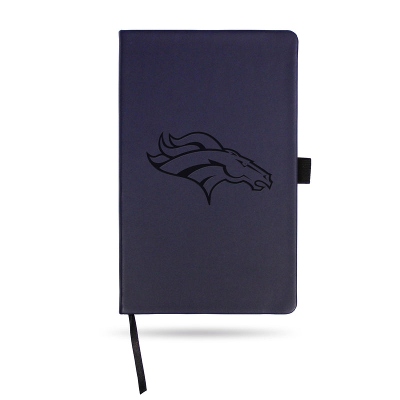 BRONCOS TEAM COLOR LASER ENGRAVED NOTEPAD W/ ELASTIC BAND - NAVY