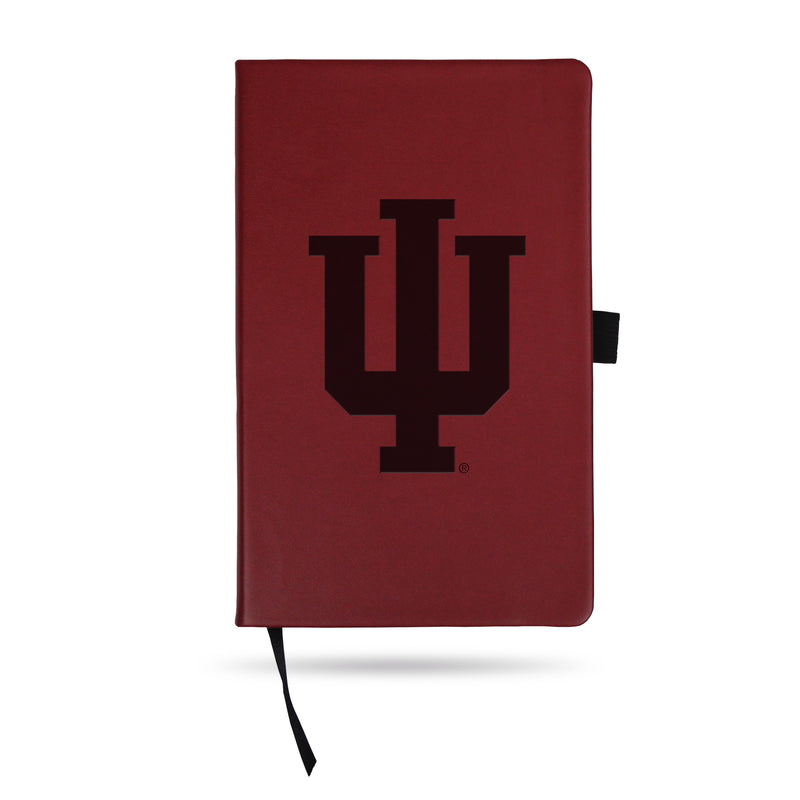 INDIANA UNIVERSITY TEAM COLOR LASER ENGRAVED NOTEPAD W/ ELASTIC BAND - MAROON