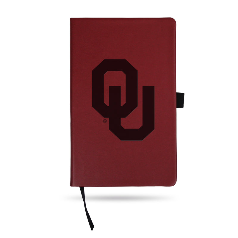 OKLAHOMA UNIVERSITY TEAM COLOR LASER ENGRAVED NOTEPAD W/ ELASTIC BAND - MAROON