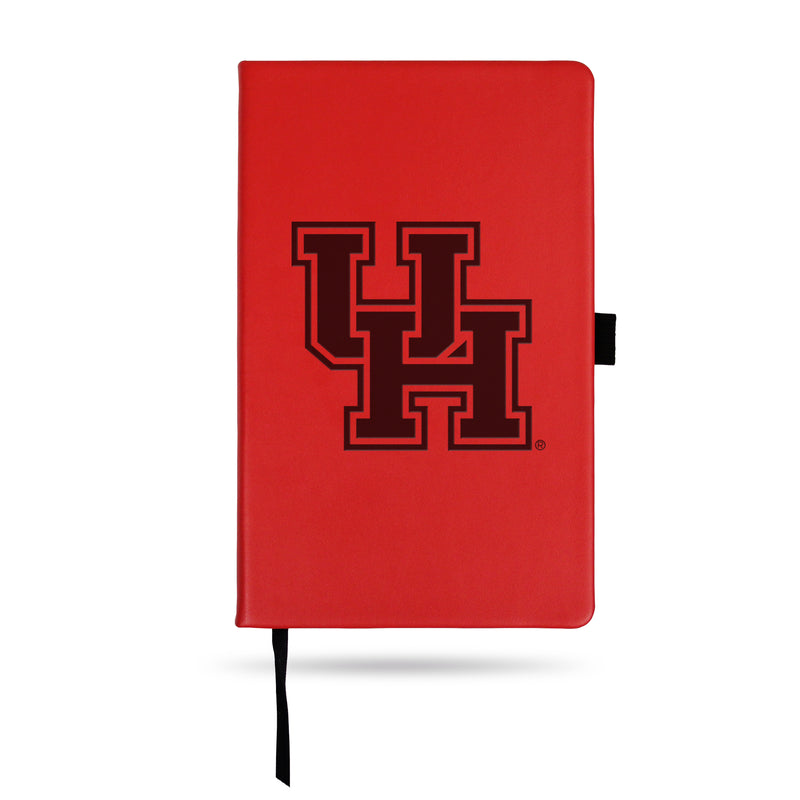 HOUSTON TEAM COLOR LASER ENGRAVED NOTEPAD W/ ELASTIC BAND - RED