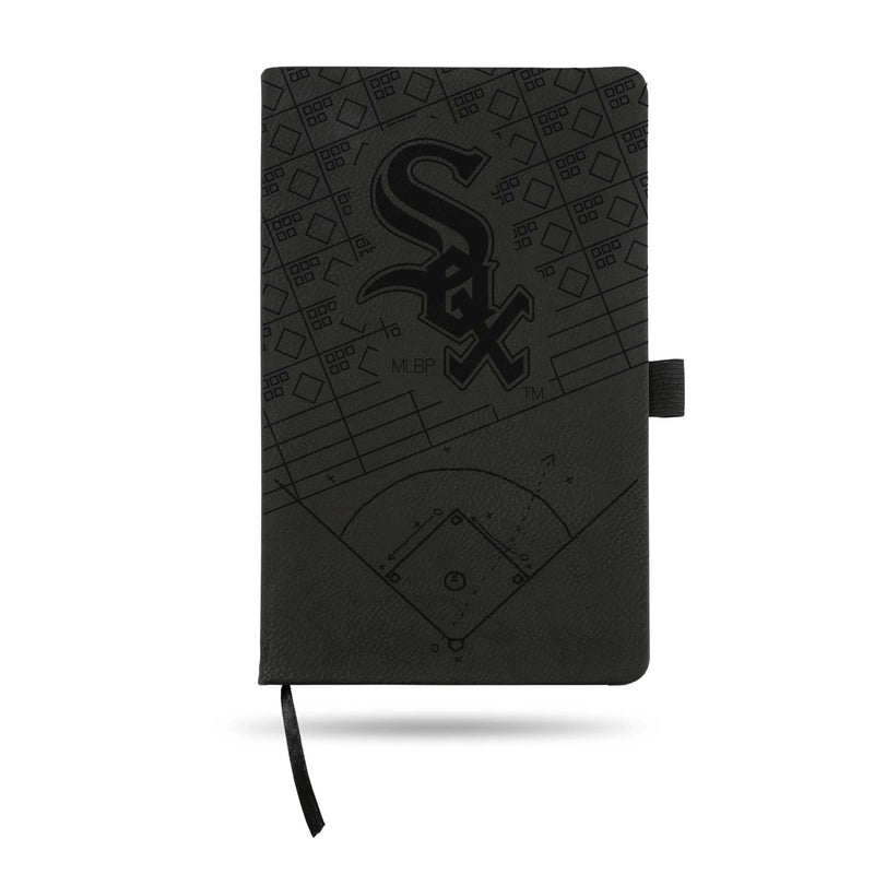 WHITE SOX LASER ENGRAVED BLACK NOTEPAD WITH ELASTIC BAND
