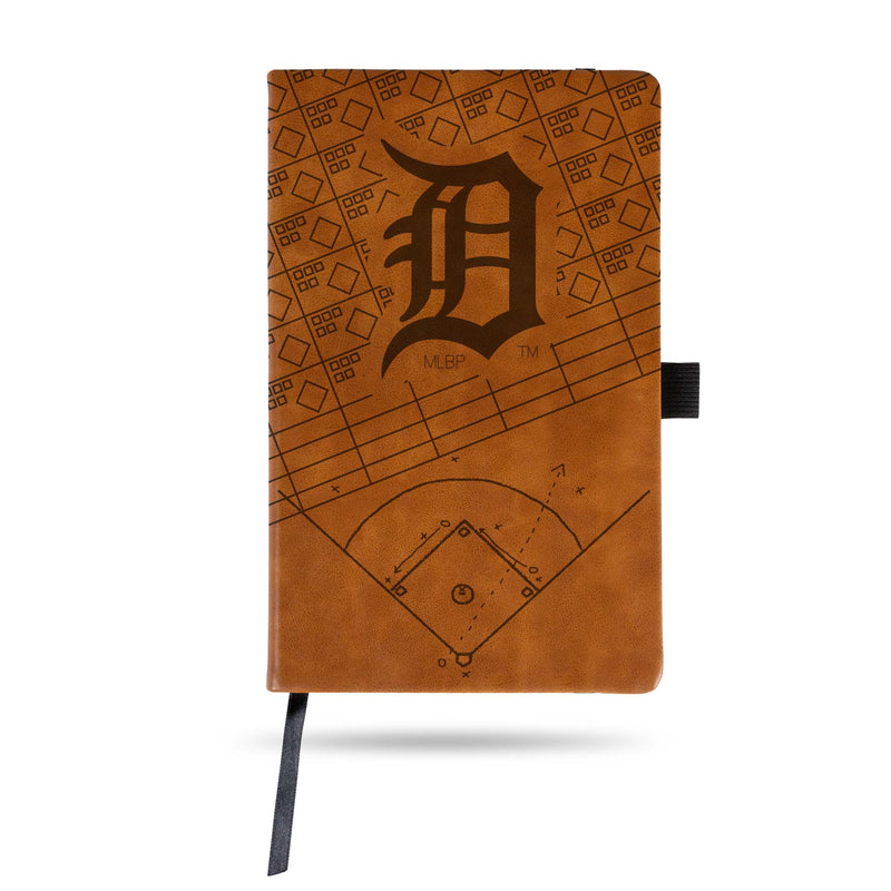 TIGERS LASER ENGRAVED BROWN NOTEPAD WITH ELASTIC BAND