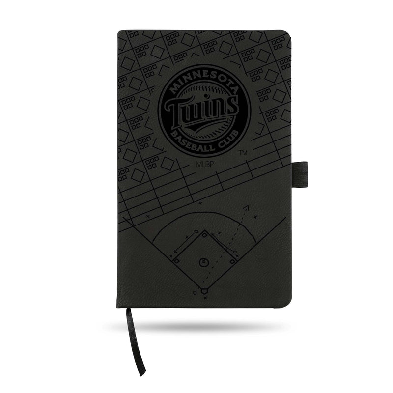 TWINS LASER ENGRAVED BLACK NOTEPAD WITH ELASTIC BAND
