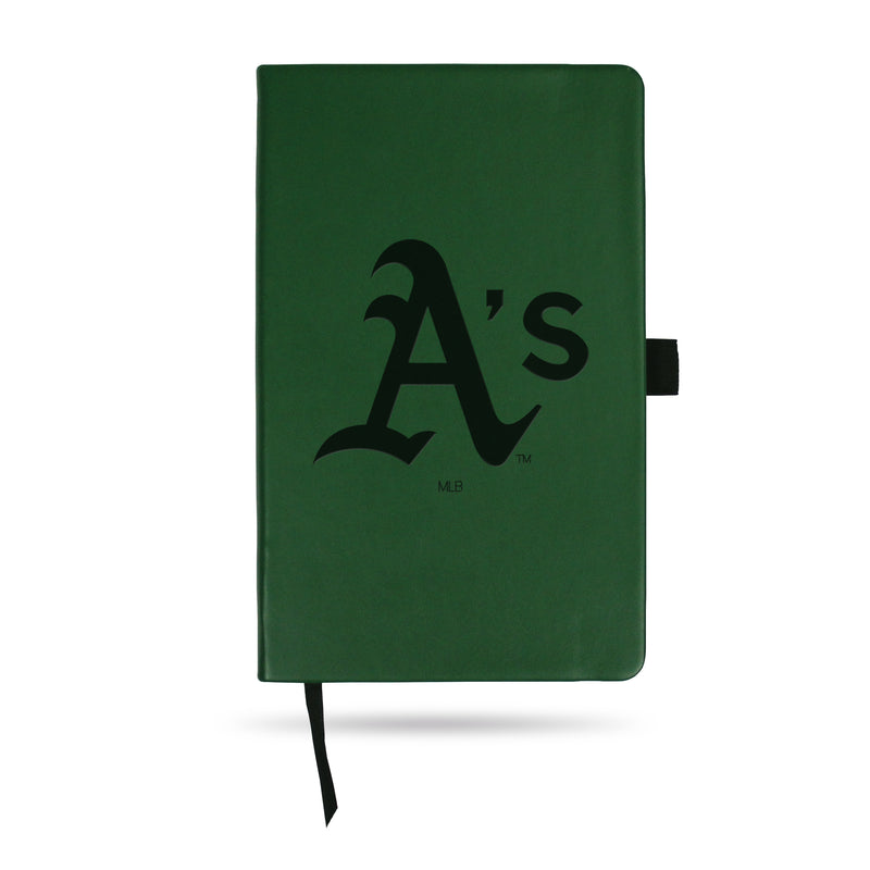 ATHLETICS TEAM COLOR LASER ENGRAVED NOTEPAD W/ ELASTIC BAND - GREEN
