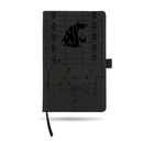 WASHINGTON STATE UNIVERSITY LASER ENGRAVED BLACK NOTEPAD WITH ELASTIC BAND