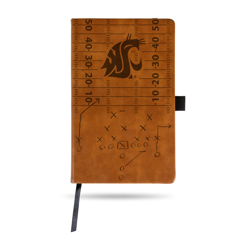 WASHINGTON STATE UNIVERSITY LASER ENGRAVED BROWN NOTEPAD WITH ELASTIC BAND
