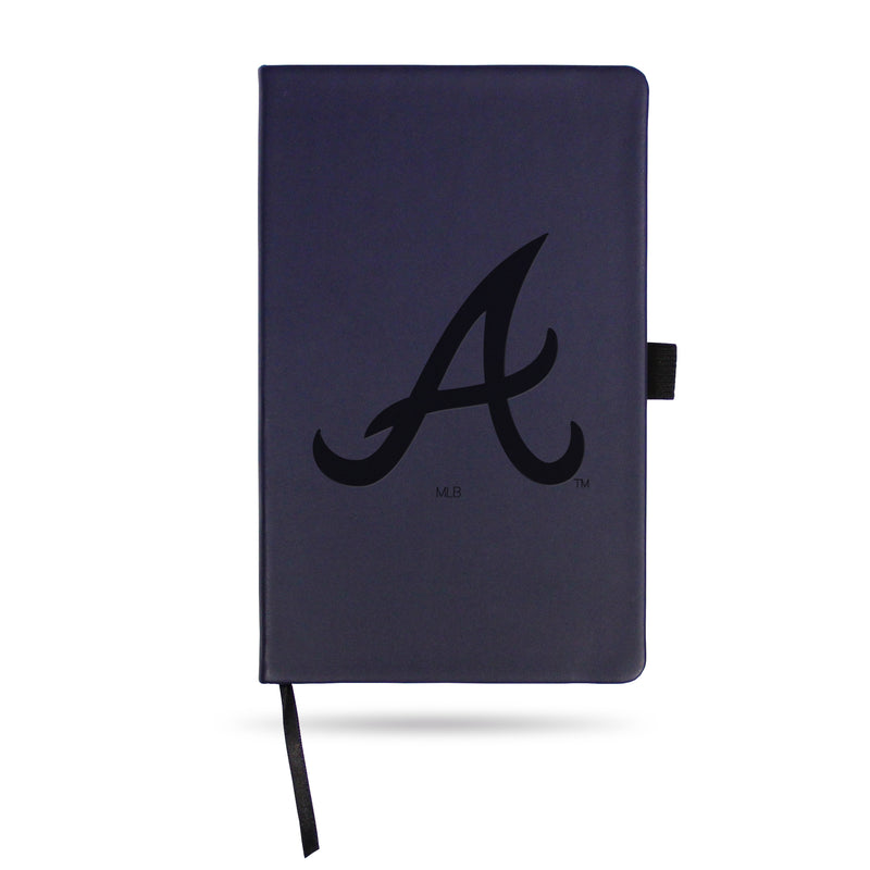 BRAVES TEAM COLOR LASER ENGRAVED NOTEPAD W/ ELASTIC BAND - NAVY