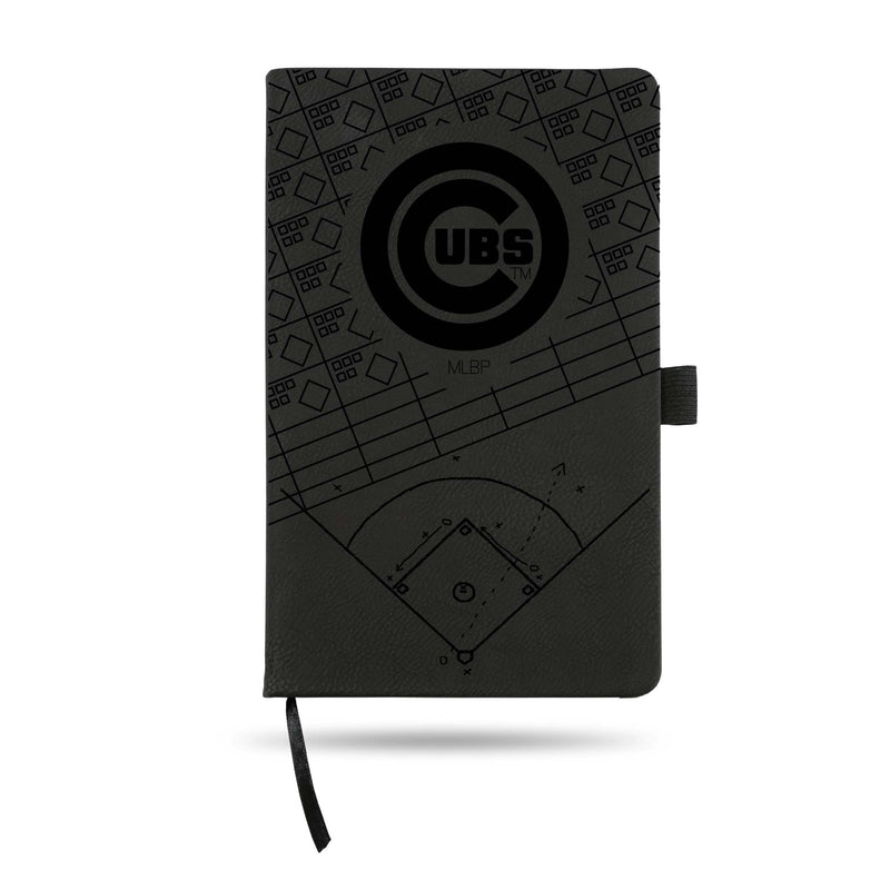 CUBS LASER ENGRAVED BLACK NOTEPAD WITH ELASTIC BAND