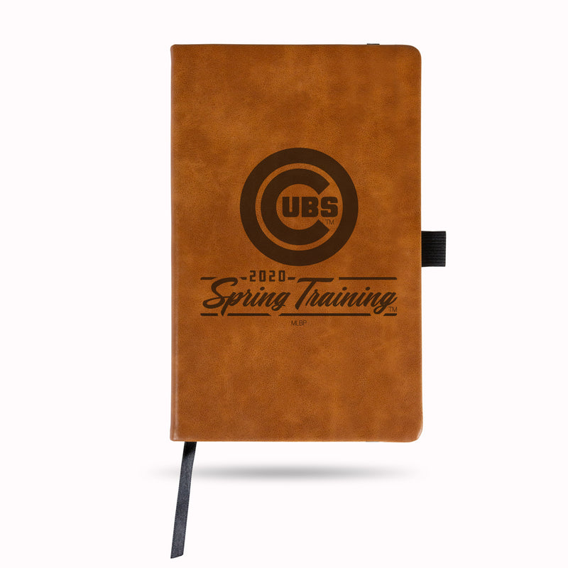 CUBS 2020 SPRING TRAINING LASER ENGRAVED BROWN NOTEPAD WITH ELASTIC BAND
