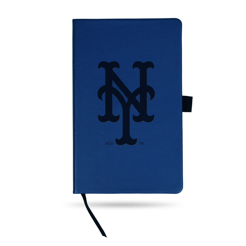 METS TEAM COLOR LASER ENGRAVED NOTEPAD W/ ELASTIC BAND - ROYAL