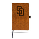 PADRES LASER ENGRAVED NOTEPAD WITH ELASTIC BAND - BROWN