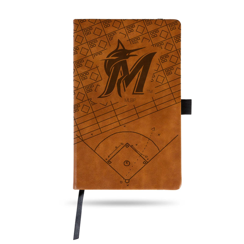 MARLINS LASER ENGRAVED BROWN NOTEPAD WITH ELASTIC BAND