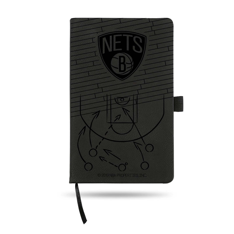 NETS LASER ENGRAVED BLACK NOTEPAD WITH ELASTIC BAND