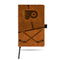 FLYERS  LASER ENGRAVED BROWN NOTEPAD WITH ELASTIC BAND