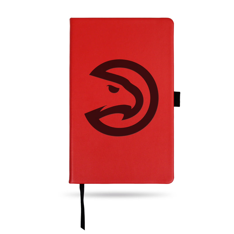 HAWKS - ATL TEAM COLOR LASER ENGRAVED NOTEPAD W/ ELASTIC BAND - RED