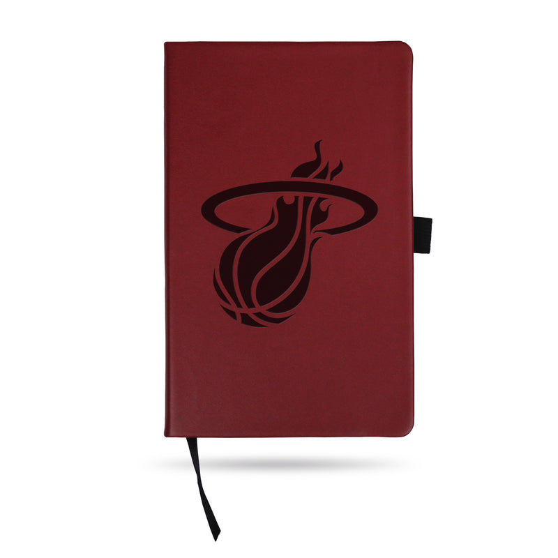 HEAT TEAM COLOR LASER ENGRAVED NOTEPAD W/ ELASTIC BAND - MAROON