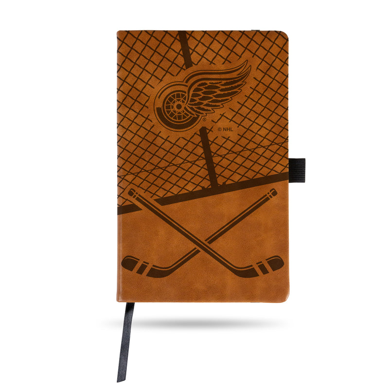 RED WINGS  LASER ENGRAVED BROWN NOTEPAD WITH ELASTIC BAND