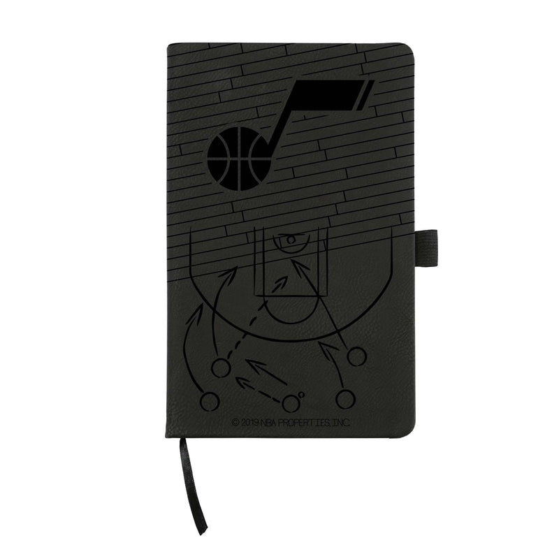 JAZZ LASER ENGRAVED BLACK NOTEPAD WITH ELASTIC BAND