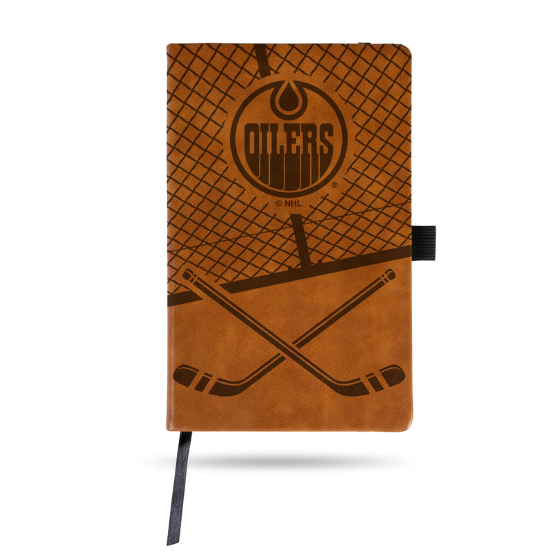 OILERS  LASER ENGRAVED BROWN NOTEPAD WITH ELASTIC BAND