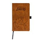LAKERS LASER ENGRAVED BROWN NOTEPAD WITH ELASTIC BAND