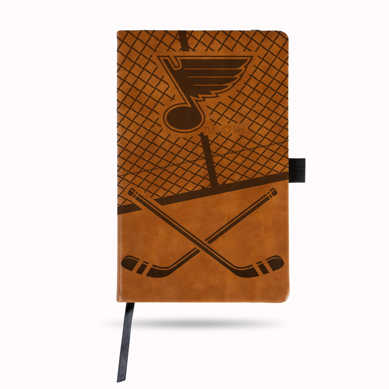 BLUES LASER ENGRAVED BROWN NOTEPAD W/ ELASTIC BAND (HOCKEY RINK W/ BLUES LOGO)