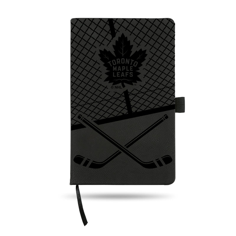 MAPLE LEAFS  LASER ENGRAVED BLACK NOTEPAD WITH ELASTIC BAND