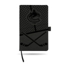 CANUCKS  LASER ENGRAVED BLACK NOTEPAD WITH ELASTIC BAND