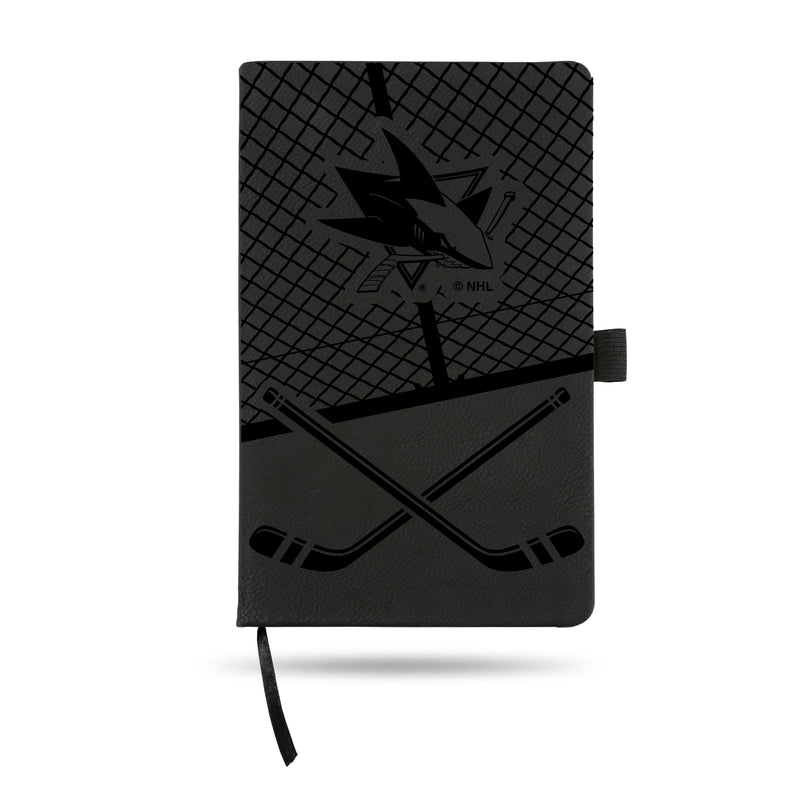 SHARKS  LASER ENGRAVED BLACK NOTEPAD WITH ELASTIC BAND