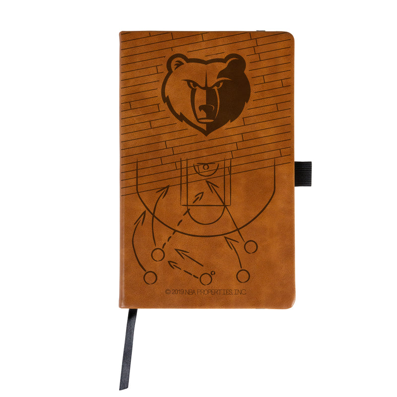 GRIZZLIES LASER ENGRAVED BROWN NOTEPAD WITH ELASTIC BAND