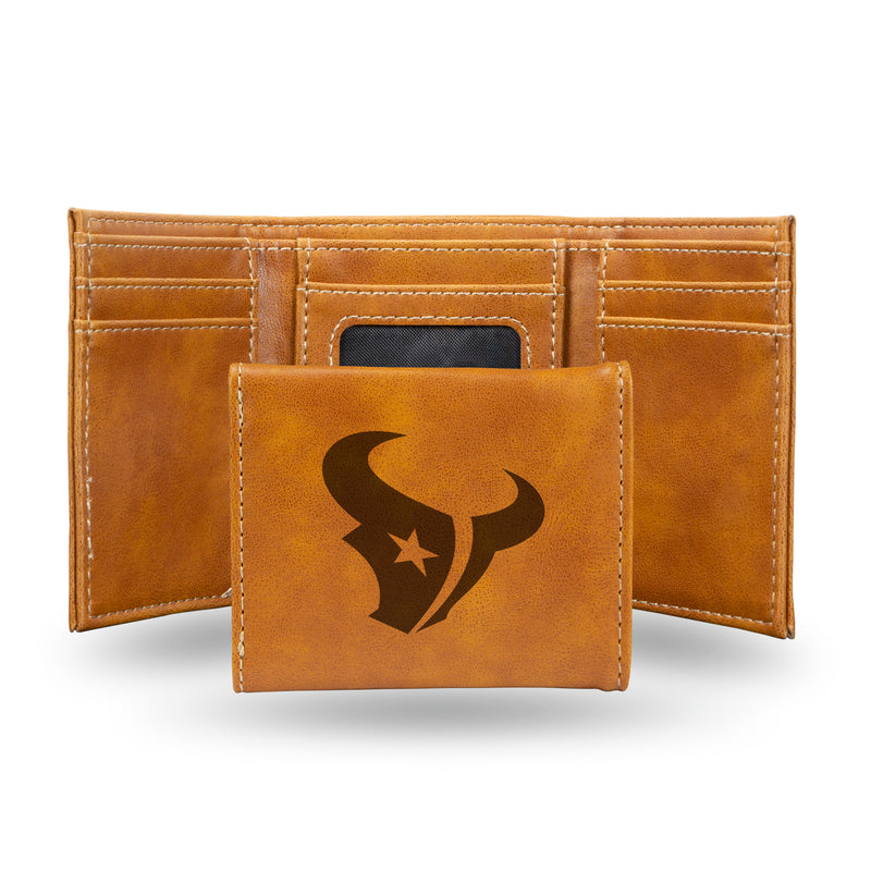TEXANS BROWN FAUX LEATHER LASER ENGRAVED TRIFOLD WITH BLACK LOGO