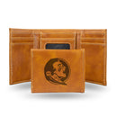 FLORIDA STATE LASER ENGRAVED BROWN TRIFOLD WALLET