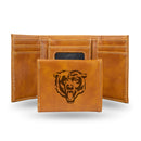 BEARS BROWN FAUX LEATHER LASER ENGRAVED TRIFOLD WITH BLACK LOGO