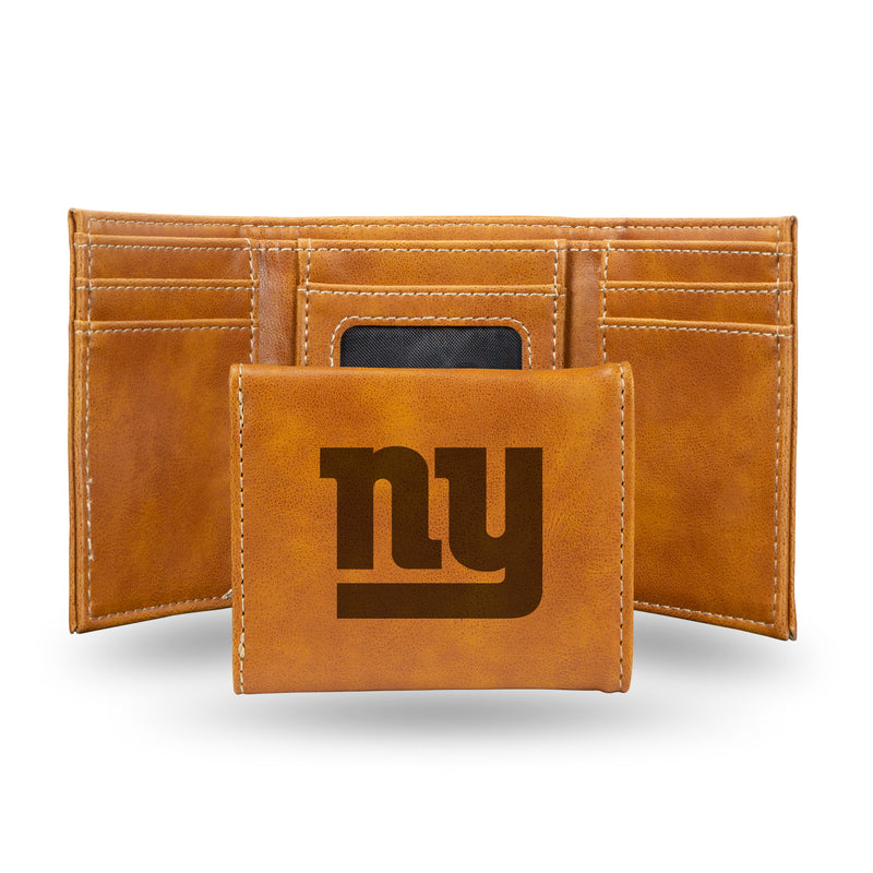 GIANTS - NY BROWN FAUX LEATHER LASER ENGRAVED TRIFOLD WITH BLACK LOGO