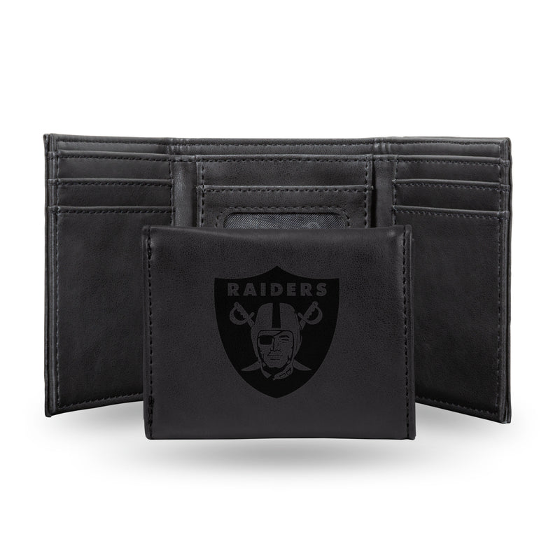 RAIDERS LASER ENGRAVED BLACK TRIFOLD WALLET