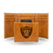 RAIDERS BROWN FAUX LEATHER LASER ENGRAVED TRIFOLD WITH BLACK LOGO