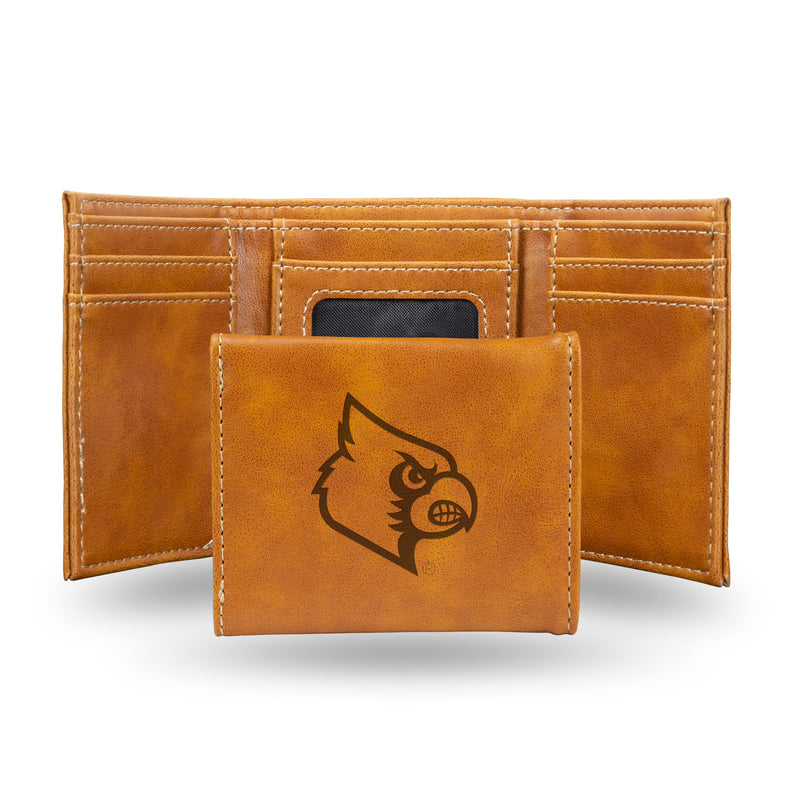 LOUISVILLE LASER ENGRAVED BROWN TRIFOLD WALLET