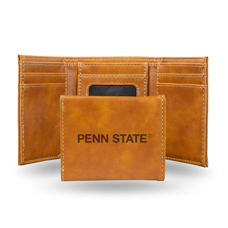 PENN STATE LASER ENGRAVED BROWN TRIFOLD WALLET