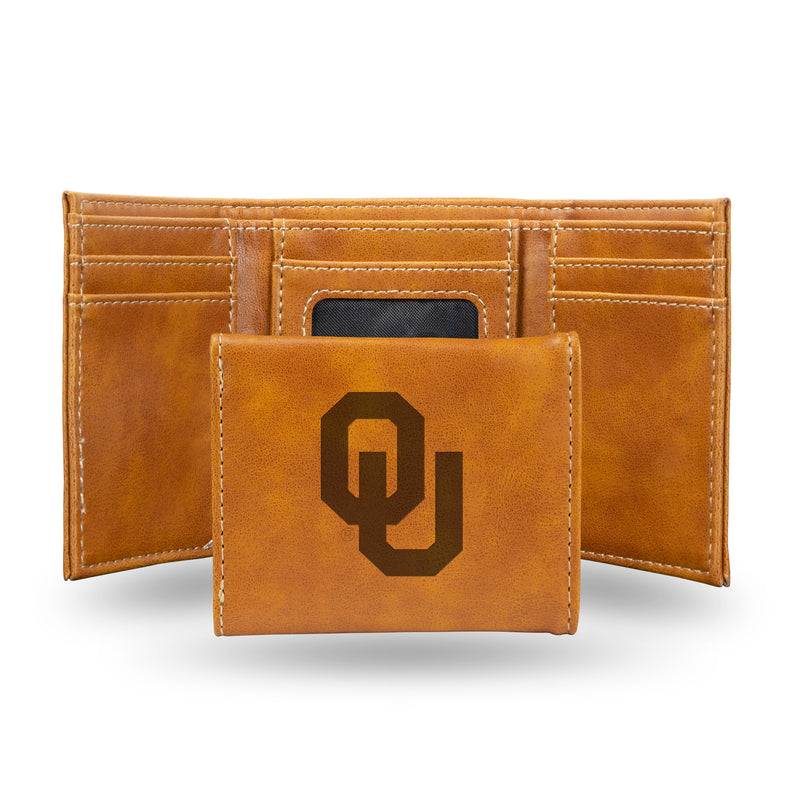 OKLAHOMA UNIVERSITY LASER ENGRAVED BROWN TRIFOLD WALLET