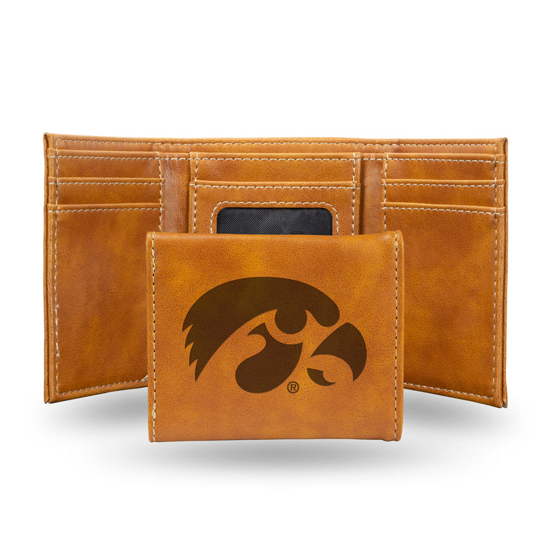 IOWA UNIVERSITY LASER ENGRAVED BROWN TRIFOLD WALLET