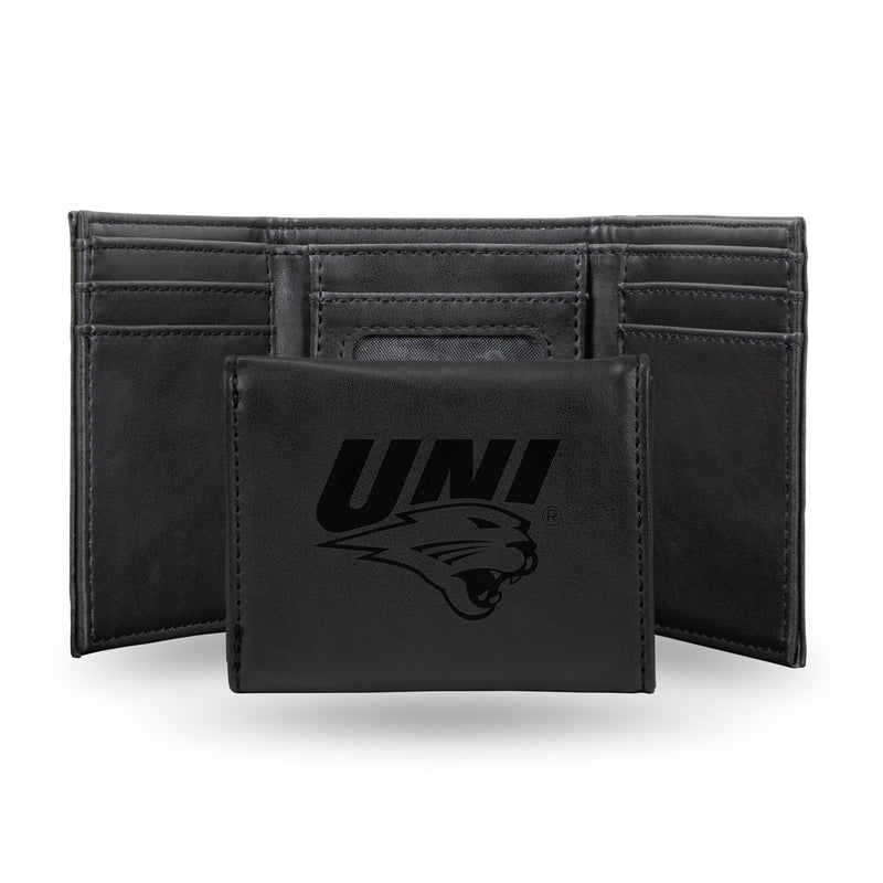 NORTHERN IOWA LASER ENGRAVED BLACK TRIFOLD WALLET