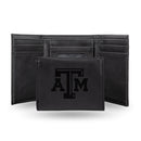 TEXAS A&M LASER ENGRAVED BLACK TRIFOLD WALLET