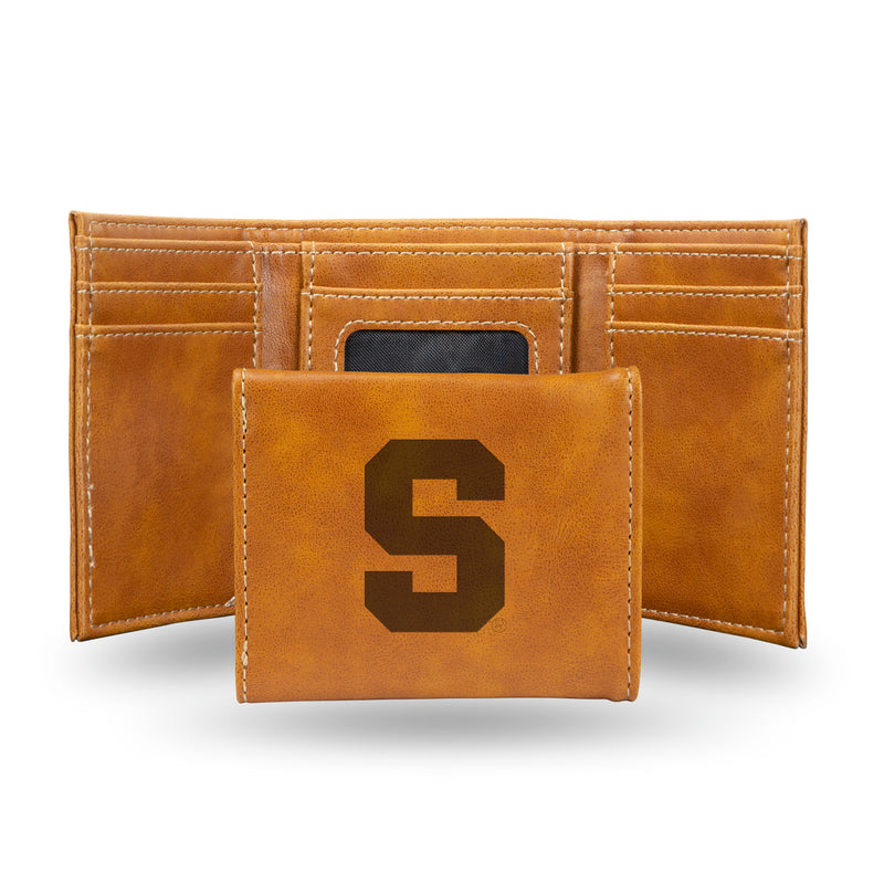 SYRACUSE UNIVERSITY LASER ENGRAVED BROWN TRIFOLD WALLET