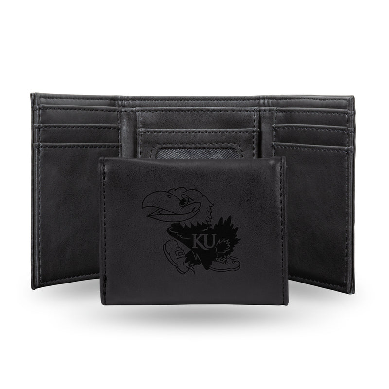 KANSAS UNIVERSITY LASER ENGRAVED BLACK TRIFOLD WALLET